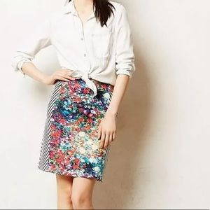 Tabitha Anthropologie Striped Floral Pencil Skirt